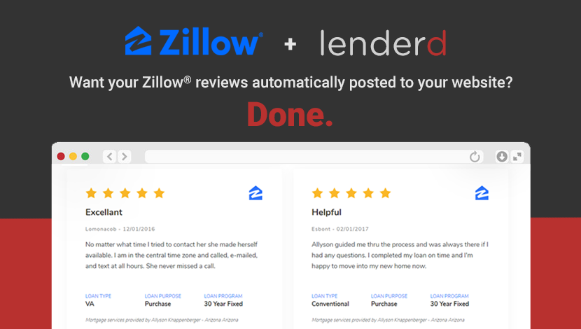 Zillow® Reviews Now Post to Your Mortgage Website Automatically